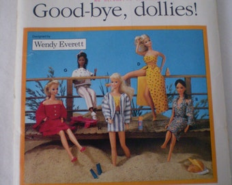 Vintage Butterick 6495  Barbie Fashion Doll Clothes Goodbye Dollies Casual Travel Outfits Dresses Sweats Jacket Wardrobe 1980s