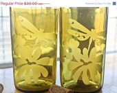 Love It Sale Dragonfly Etched Wine Bottle Glasses