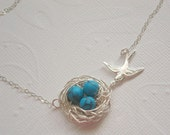 Birdnest Necklace Mom Necklace Silver Bird Necklace Turquoise NestNecklace Eggs Beads with Birds