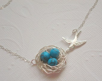Birdnest Necklace Turquoise Nest Necklace Spring Jewelry Mom Necklace Silver Bird Necklace  Eggs Beads with Birds