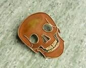 Brass Skull Brooch