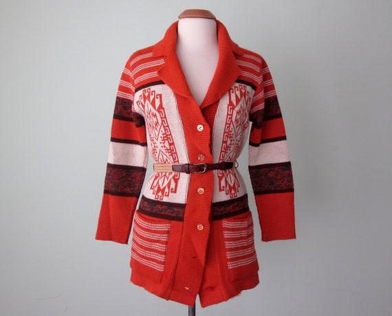 70s sweater / orange ethnic print belted marled knit cardigan (m - l)
