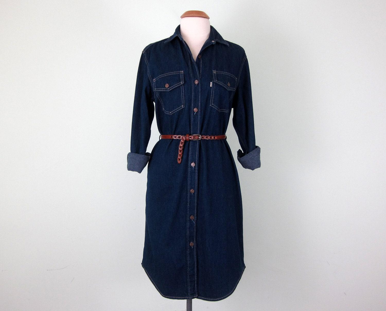 70s dress levis denim blue jean shift long by sallyjanevintage