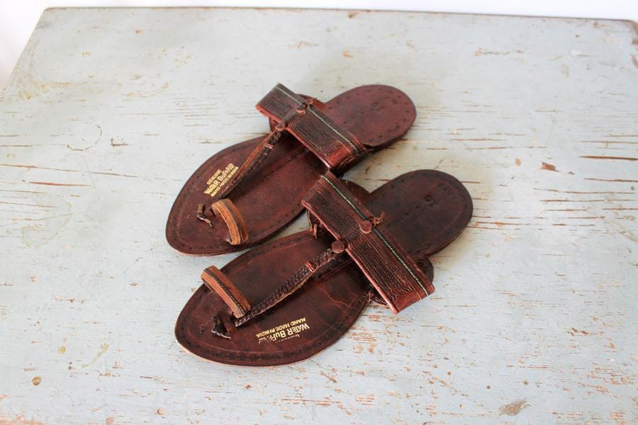 vintage Men's Water Buffalo leather sandals by ScottieinaCanoe