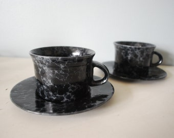 Set of 2 Bennington Potters Yusuke Aida Cups and Saucers