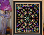 Glitter Art Stained Glass Cathedral Window