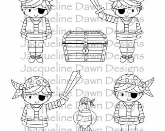Digital Stamp - Pirate Kid Bundle
