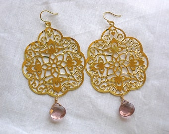 Gold-Plated Filagree and Faceted Alexandrite Glass Earrings on 14k Gold
