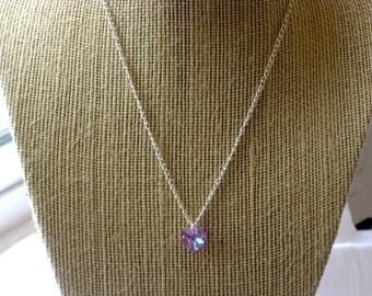 Girls' Violet Swarovski Crystal Heart Necklace on Sterling Silver