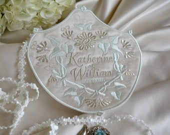 Custom Embroidered Wedding Dress Label French Silk Satin DOWNTON ABBEY COLLECTION - Ivory - Aquamarine - Metallic Silver
