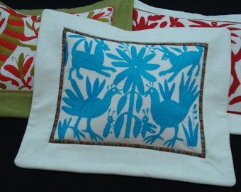Hand Embroidery Otomi Pillow Turquoise with Animals and Flowers Mexican Folklore