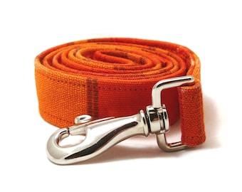 Orange large dog leash - Orange striped pet lead - Wide striped dog leash - L / XL / XXL size