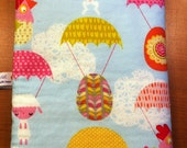 Easter Cute Critters  Baby Burp Cloth - Bunnies, Lambs and Chicks Parachuting - Bright Multi Color - Cotton and Chenille