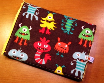 Burp Cloth - Multi color Monsters and Robots - Flannel and Chenille Burpie