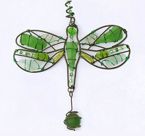 Sea Glass Suncatcher/Windchimes/Garden Ornament with Dragonfly Design