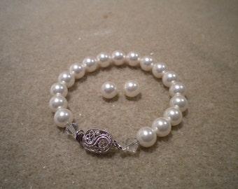Bridal Jewelry Set Wedding Jewelry Set Pearl Set-Swarovski Pearl Bridal Jewelry Pearl Bracelet and Earrings Set PS002