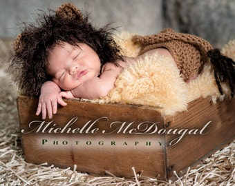 Lion Hat and Diaper Cover Photo Prop Set, Newborn Jungle Hat and Diaper Cover Baby Costume,