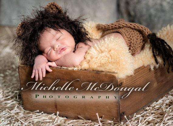 Newborn Lion Hat and Diaper Cover Photo Prop Costume