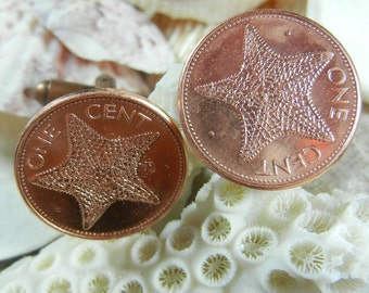 Starfish Copper Coin Cuff Links - Bahamas Stars