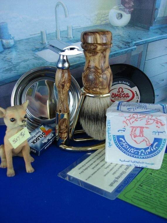 Wet Shaving, Shaving Set, Double Edge Razor, Silvertip Badger, Gold Stand, Olivewood, Personalized Engraving, Set 14