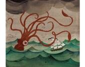 Giant Squid art watercolor print