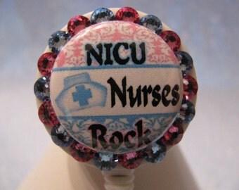 NICU ID Badge Holder Retractable Reel Nurses Multi Option using Swarovski Elements with Pacifier Charm