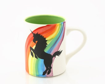 Rainbow Unicorn Mug, kiln fired large 16 oz mug GREEN inside