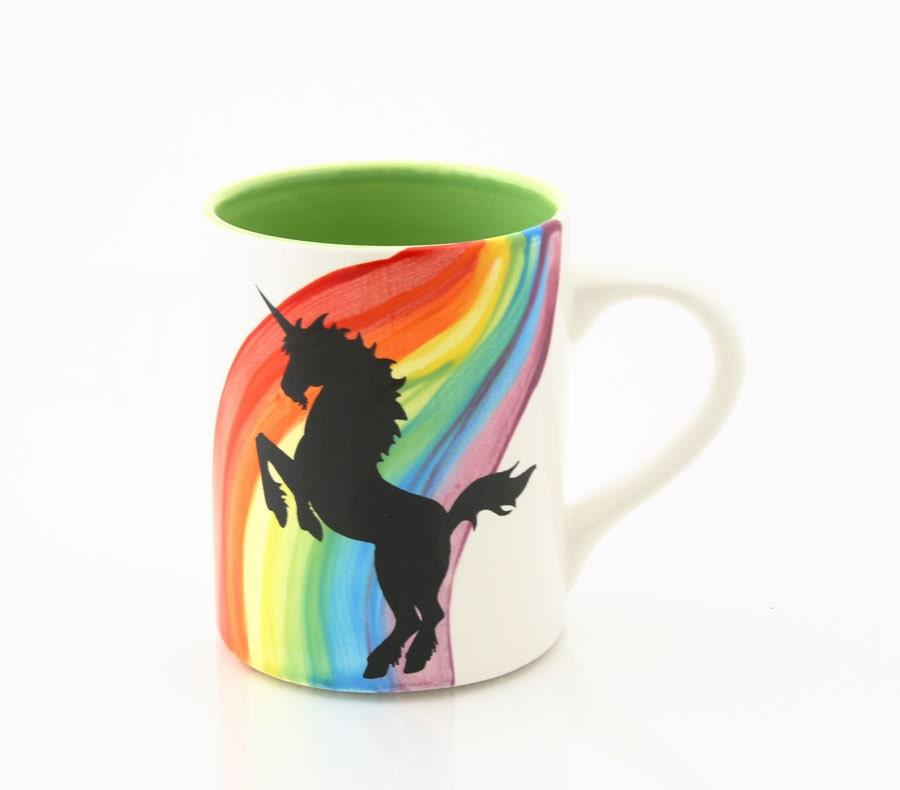 Rainbow Unicorn Mug Kiln Fired Large 16 Oz Mug Green By