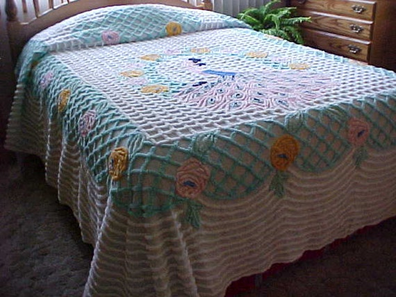 Sale Pastel Peacock Chenille Bedspread In Aqua Pinks Yellow