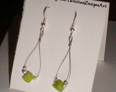 Neon Lime Green Square Beads and Silver Stardust Beads on Teardrop Earrings