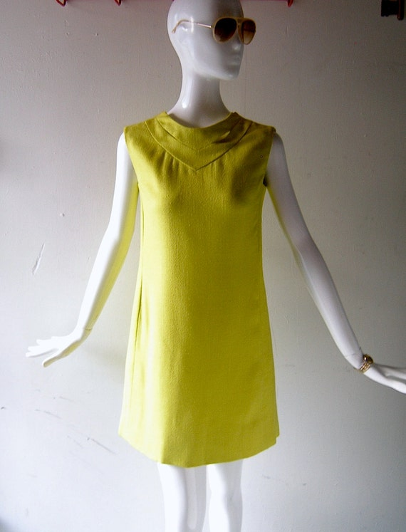 60s Donald Brooks style linen dress - acid butter yellow Mad Men Megan chic - made in British Colony of Hong Kong -