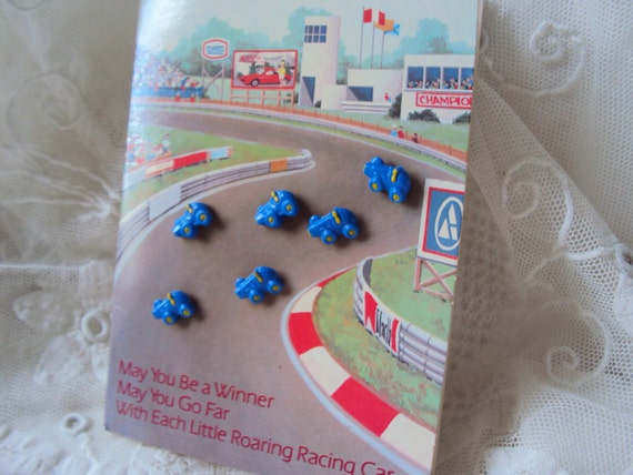 Blue Race Car buttons - fun little buttons for your little guy