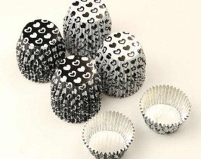 Hearts Black and White Aluminum Mini Cups