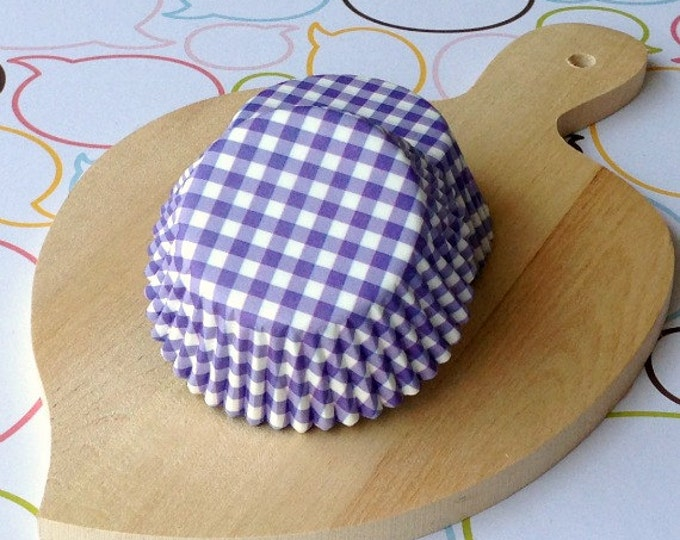 Blueberry Gingham Standard Cupcake Liners