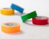 mt Washi Masking Tape - Plain Colours - Blue, Yellow, Red, Green & Shocking Orange