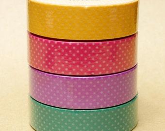 Aimez Washi Masking Tape - Polka Dots in Orange, Pink, Purple & Green