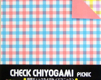 Japanese Double-Sided Origami Paper - Picnic Checks - 15cm (6 inches)