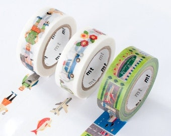 mt Washi Masking Tape - Work Occupations, Vehicles or Places - Kids