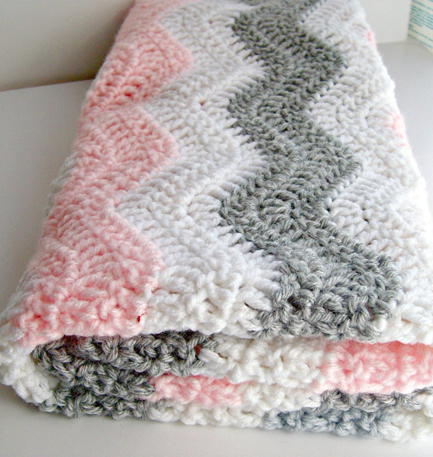 Pink Gray Chevron Baby Blanket Crochet Pink Baby By Puddintoes