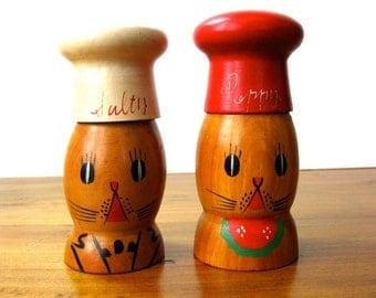 Salt and Pepper Shakers - Salty & Peppy Cat Shakers - Vintage Wood Shakers