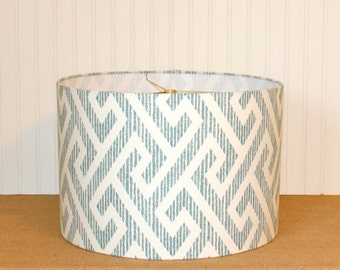 Drum Lamp Shade Lampshades Geometric Teal Made to Order