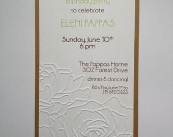 Embossed floral invitation