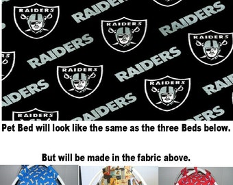 Large Handmade Oakland Raiders Pup Tent Pet Bed For Cats / Dogs / Ferrets / Piggies Or Used For A Toy Box / Barbie Doll House