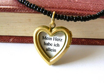 Gold black heart locket choker necklace. Literary quote jewelry. Romantic jewelry. Goethe, Werther inspired. German literature quote.
