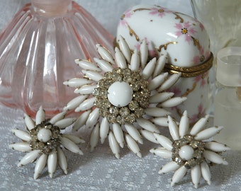 Judy Lee Milk Glass Set, Vintage Bride, Brooch & Earrings, Star Flower Design, Signed, Excellent Vintage Condition