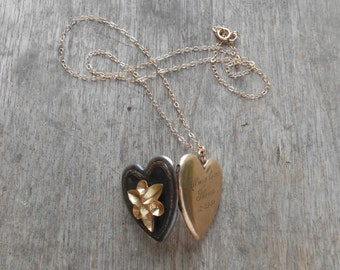 Vintage Heart Locket.  Dark Heart with Gold Navette Cups.