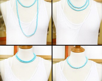 TC Pearly set of necklace, bracelet and earrings - Chalk blue