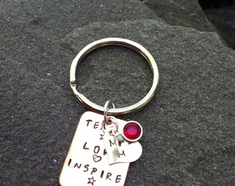 Copper teacher keychain gift teach love inspire
