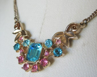 Rhinestone Swag Necklace Pink Turquoise Gold Leaves Brass Chain 1950's