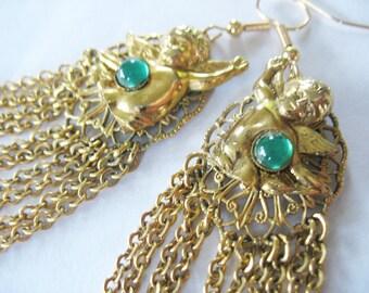Cherub Chain Earrings Goldtone Green Cabachon 1950's